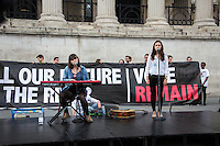 """London, 21/06/2016. Today, hundreds of people gathered in Trafalgar Square to hold a demonstration in support with the """"Stay In the EU/Remain in the EU"""" campaigns ahead of the EU referendum which will be held in Great Britain the 23rd of June 2016. From the organiser Facebook page: <<[…] Thursday's vote is about much more than the tangible benefits of our membership in the EU, it's about the kind of country we want to live in and the kind of future we want to see. […] Let's come together to promote the values that define our generation and make sure we vote Remain on June 23rd>>.<br /> <br /> For more information please click here: https://www.facebook.com/events/1726890050917017/?active_tab=highlights"""