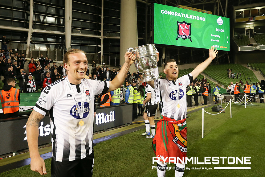 John Mountney and Ronan Murray celebrate at the end of the  Irish Daily Mail FAI Cup Final between Dundalk and Cork City, on Sunday 4th November 2018, at the Aviva Stadium, Dublin. Mandatory Credit: Michael P Ryan.