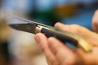 Europe/France/Midi-Pyrénées/12/Aveyron/Aubrac/Laguiole: Fabrication d'un Couteau de Laguiole à la Manufacture de Couteaux:  Forge de Laguiole _Montage d'un Couteau de Laguiole - Vérification de l'alignement lame manche