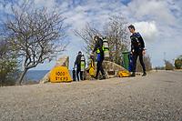 Scuba divers heading down stairs at 1000 steps dive site, Bonaire, Netherlands Antilles, Caribbean, Atlantic, model release