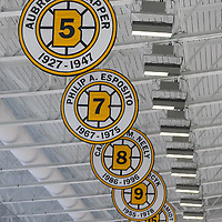 Brighton, Massachusetts - February 18, 2018:  In a National Women's Hockey League (NWHL) game, Buffalo Beauts (blue) defeated Boston Pride (black), 6-2, at Warrior Ice Arena.<br /> <br /> Banners at Boston Bruins practice rink, Warrior Ice Arena.