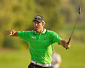 Spain's Alvaro Quiros celebrates holing his putt for eagle at the final hole to become 2011 DWC Champion: The 2011 Dubai World Championships was played over the Earth Course, at Jumeirah Golf Estates, Dubai from 8th to 11th December 2011; Picture Stuart Adams, 11th December 2011