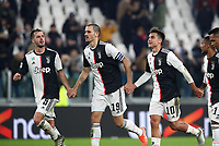 Calcio, Serie A: Juventus - Milan, Turin, Allianz Stadium, November 10, 2019.<br /> Juventus' players celebrate after winning 1-0  the Italian Serie A football match between Juventus and Milan at the Allianz stadium in Turin, November 10, 2019.<br /> UPDATE IMAGES PRESS/Isabella Bonotto