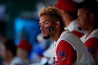 Clearwater Threshers right fielder Jose Pujols (23) in the dugout during a game against the Jupiter Hammerheads on April 11, 2018 at Spectrum Field in Clearwater, Florida.  Jupiter defeated Clearwater 6-4.  (Mike Janes/Four Seam Images)
