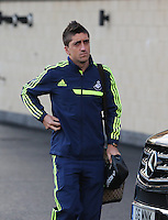 Wednesday 18 September 2013<br /> Pictured: Pablo Hernandez about to board the team coach in Swansea. <br /> Re: Swansea City FC players and staff travelling to Spain for their UEFA Europa League game against Valencia.