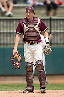 Catcher Garret Smith #4 of the Boston College Eagles on defense against the Virginia Tech Hokies at English Stadium May 2, 2010, in Blacksburg, Virginia.  Photo by Brian Westerholt / Four Seam Images