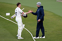 Centurion Rob Yates of Warwickshire is congratulated as he leaves the field during Warwickshire CCC vs Essex CCC, LV Insurance County Championship Group 1 Cricket at Edgbaston Stadium on 25th April 2021