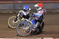 Heat 5: Kauko Nieminen (red) and Greg Hancock (blue) - Lee Richardson Memorial Speedway Meeting at Arena Essex Raceway, Purfleet - 28/09/12 - MANDATORY CREDIT: Gavin Ellis/TGSPHOTO - Self billing applies where appropriate - 0845 094 6026 - contact@tgsphoto.co.uk - NO UNPAID USE.