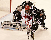 Hayden Hawkey (PC - 31), Jordan Greenway (BU - 18), Jake Walman (PC - 19) - The Boston University Terriers tied the visiting Providence College Friars 2-2 on Saturday, December 3, 2016, at Agganis Arena in Boston, Massachusetts.