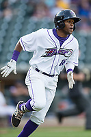 Luis Alexander Basabe (16) of the Winston-Salem Dash hustles down the first base line against the Myrtle Beach Pelicans at BB&T Ballpark on May 11, 2017 in Winston-Salem, North Carolina.  The Pelicans defeated the Dash 9-7.  (Brian Westerholt/Four Seam Images)