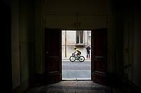 Primoz Roglic (SVK/Jumbo-Visma) on his way to the start<br /> <br /> Stage 10: Ravenna to Modena (147km)<br /> 102nd Giro d'Italia 2019<br /> <br /> ©kramon