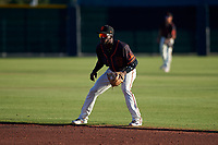 AZL Giants Black second baseman Ghordy Santos (8) during an Arizona League game against the AZL Angels at the Giants Baseball Complex on June 21, 2019 in Scottsdale, Arizona. AZL Angels defeated AZL Giants Black 6-3. (Zachary Lucy/Four Seam Images)