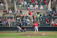 Kannapolis Intimidators starting pitcher Luis Martinez (29) delivers a pitch to Austin Davidson (6) of the Hagerstown Suns at Kannapolis Intimidators Stadium on July 4, 2016 in Kannapolis, North Carolina.  The Intimidators defeated the Suns 8-2.  (Brian Westerholt/Four Seam Images)