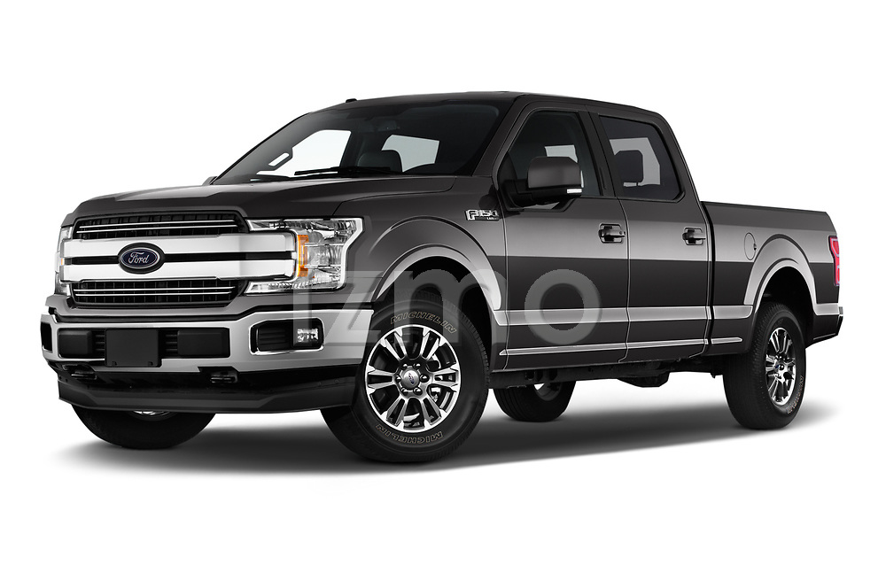 Stock pictures of low aggressive front three quarter view of 2020 Ford F-150 Lariat 4 Door Pick-up Low Aggressive