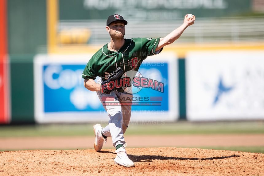 Great Lakes Loons pitcher Andrew Shaps (22) delivers a pitch to the plate on May 30, 2021 against the Lansing Lugnuts at Jackson Field in Lansing, Michigan. (Andrew Woolley/Four Seam Images)