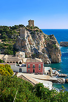 The tonnara of Scopello (Tonnara di Scopello) Old Tuna processing buildings on the Castellammare del Golfo, Sicily