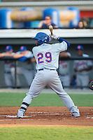 Franklin Correa (29) of the Kingsport Mets at bat against the Burlington Royals at Burlington Athletic Stadium on July 18, 2016 in Burlington, North Carolina.  The Royals defeated the Mets 8-2.  (Brian Westerholt/Four Seam Images)