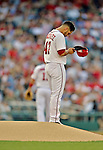 15 June 2012: Washington Nationals pitcher Gio Gonzalez takes a moment to himself prior to a game against the New York Yankees at Nationals Park in Washington, DC. The Yankees defeated the Nationals 7-2 in the first game of their 3-game series. Mandatory Credit: Ed Wolfstein Photo
