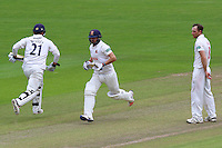 Graham Wagg (R) looks on as Essex batsmen Jaik Mickleburgh (C) and Tom Westley add to the total during Glamorgan CCC vs Essex CCC, Specsavers County Championship Division 2 Cricket at the SSE SWALEC Stadium on 23rd May 2016