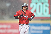 Erie SeaWolves catcher Kade Scivicque (20) rounds the bases after hitting a home run during an Eastern League game against the Akron RubberDucks on June 2, 2019 at UPMC Park in Erie, Pennsylvania.  Akron defeated Erie 7-2 in the first game of a doubleheader.  (Mike Janes/Four Seam Images)