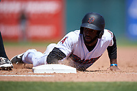 Inland Empire 66ers right fielder Torii Hunter, Jr. (4) slides into first base on a pickoff attempt during a California League game against the Modesto Nuts on April 10, 2019 at San Manuel Stadium in San Bernardino, California. Inland Empire defeated Modesto 5-4 in 13 innings. (Zachary Lucy/Four Seam Images)