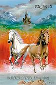 Interlitho, Luis, FANTASY, paintings, 2 horses, castle, KL, KL3482,#fantasy# illustrations, pinturas