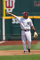 Mississippi State third baseman Alex Detz (3) acknowledges the Mississippi State Bulldog crows during Game 11 of the 2013 Men's College World Series against the Oregon State Beavers on June 21, 2013 at TD Ameritrade Park in Omaha, Nebraska. The Bulldogs defeated the Beavers 4-1, to reach the CWS Final and eliminating Oregon State from the tournament. (Andrew Woolley/Four Seam Images)