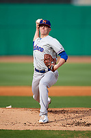 Midland RockHounds starting pitcher Brett Graves (18) delivers a pitch during a game against the Northwest Arkansas Naturals on May 27, 2017 at Arvest Ballpark in Springdale, Arkansas.  NW Arkansas defeated Midland 3-2.  (Mike Janes/Four Seam Images)