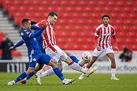 9th January 2021; Bet365 Stadium, Stoke, Staffordshire, England; English FA Cup Football, Carabao Cup, Stoke City versus Leicester City; Sam Vokes of Stoke City is tackled by Youri Tielemans of Leicester City