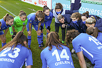Aline Zeler with the Genk players before a female soccer game between Eendracht Aalst and Racing Genk on the fifth matchday of the 2020 - 2021 season of Belgian Scooore Womens Super League , Saturday 28 th of November 2020  in Aalst , Belgium . PHOTO SPORTPIX.BE | SPP | SEVIL OKTEM