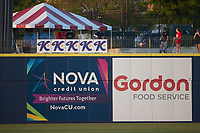 """""""K"""" signs are hung above the outfield wall for each strikeout by a Kannapolis Cannon Ballers pitcher during the game against the Columbia Fireflies at Atrium Health Ballpark on May 21, 2021 in Kannapolis, North Carolina. (Brian Westerholt/Four Seam Images)"""