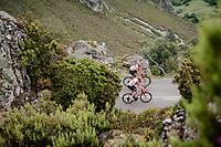 Tosh Van der Sande (BEL/Lotto-Soudal) & Sander Armée (BEL/Lotto-Soudal) up the Alto de La Cubilla<br /> <br /> Stage 16: Pravia to Alto de La Cubilla. Lena (144km)<br /> La Vuelta 2019<br /> <br /> ©kramon