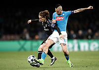 Football Soccer: UEFA Champions League Round of 16 second leg, Napoli-Real Madrid, San Paolo stadium, Naples, Italy, March 7, 2017. <br /> Real Madrid's Luka Modric (l) in action with Real Madrid's Marek Hamsik (r) during the Champions League football soccer match between Napoli and Real Madrid at the San Paolo stadium, 7 March 2017. <br /> Real Madrid won 3-1 to reach the quarter-finals.<br /> UPDATE IMAGES PRESS/Isabella Bonotto