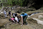 American women hiking on the Blue Creek Cave Trail near Punta Gorda, Belize
