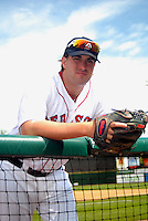 Lowell Spinners pitcher Mike Adams #41, the Boston Red Sox' seventh round  pick in the 2013 draft, poses for a photo prior to a game versus the Hudson Valley Renegades at LeLacheur Park in Lowell, Massachusetts on August 18, 2013.  (Ken Babbitt/Four Seam Images)