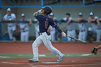 Avery Byrum (6) (James Madison) of the Bull City Crash follows through on his swing against the Martinsville Mustangs at Hooker Field on July 11, 2020 in Martinsville, VA. The Mustangs defeated the Old North State League East All-Stars 14-6. (Brian Westerholt/Four Seam Images)