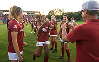 NWA Democrat-Gazette/BEN GOFF @NWABENGOFF<br /> Bryana Hunter, Arkansas defender, fist-bumps coach Colby Hale during introductions before the match vs Vanderbilt Thursday, Sept. 26, 2019, at Razorback Field in Fayetteville.