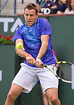 Jack Sock (USA) during his round of 16 match against Roger Federer (SUI). Federer advanced after defeating Sock 63 62 at the BNP Parisbas Open in Indian Wells, CA on March 18, 2015.