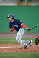 Salem Red Sox second baseman Nick Lovullo (20) at bat during the first game of a doubleheader against the Potomac Nationals on May 13, 2017 at G. Richard Pfitzner Stadium in Woodbridge, Virginia.  Potomac defeated Salem 6-0.  (Mike Janes/Four Seam Images)