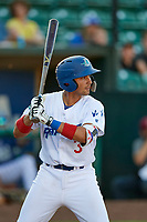 Ramon Rodriguez (3) of the Ogden Raptors bats against the Grand Junction Rockies at Lindquist Field on June 25, 2018 in Ogden, Utah. The Raptors defeated the Rockies 5-3. (Stephen Smith/Four Seam Images)