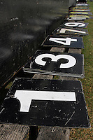 Numbers are lined up for use on the scoreboard at Castle Park - Essex CCC vs Gloucestershire CCC - LV County Championship Division Two Cricket at Castle Park, Colchester - 19/08/11 - MANDATORY CREDIT: Gavin Ellis/TGSPHOTO - Self billing applies where appropriate - Tel: 0845 094 6026