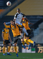 Fulham's Neeskens Kebano (centre) battles with Wolverhampton Wanderers' Joao Moutinho (left) and Ruben Neves (right) <br /> <br /> Photographer David Horton/CameraSport<br /> <br /> The Premier League - Wolverhampton Wanderers v Fulham - Sunday 4th October 2020 - Molineux Stadium - Wolverhampton<br /> <br /> World Copyright © 2020 CameraSport. All rights reserved. 43 Linden Ave. Countesthorpe. Leicester. England. LE8 5PG - Tel: +44 (0) 116 277 4147 - admin@camerasport.com - www.camerasport.com