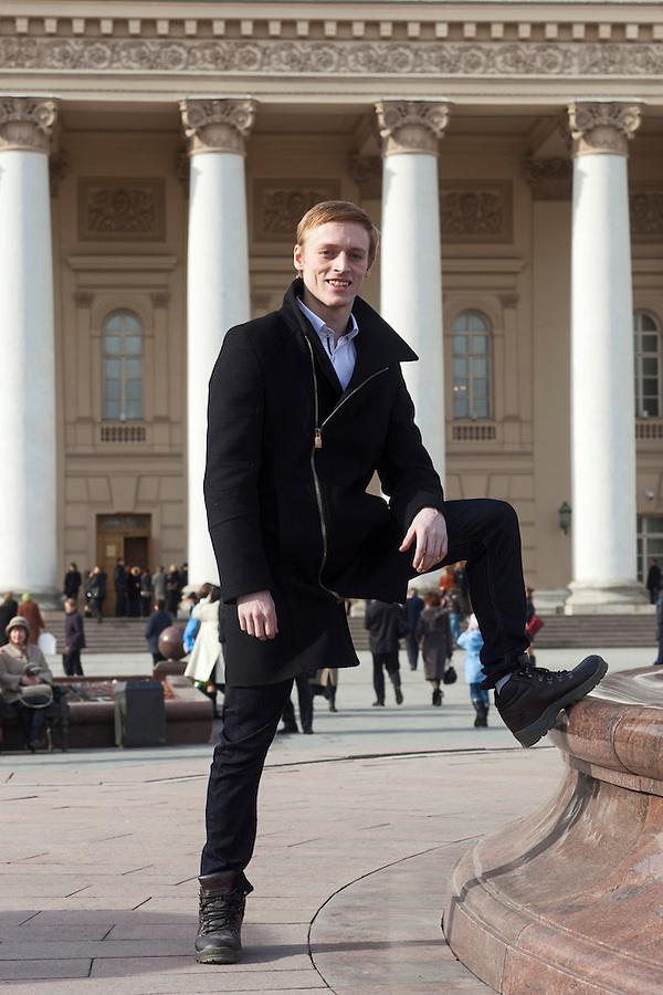 Moscow, Russia, 11/03/2013..Twenty year old Daniel Dolan from Widnes UK outside the Bolshoi Theatre after passing his final dance exams with the Bolshoi Ballet. He is only the second British man to do so, and now hopes to join one of the big Russian theatres.