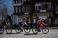 breakaway group consisting of: Ethan Hayter (GBR/INEOS Grenadiers), Florian Vermeersch (BEL/Lotto Soudal) & (former race winner) Jelle Wallays (BEL/Cofidis)<br /> <br /> 76th Dwars door Vlaanderen 2021 (MEN1.UWT)<br /> 1 day race from Roeselare to Waregem (184km)<br /> <br /> ©kramon