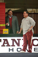 STANFORD, CA - JANUARY 9:  Athletic director Bob Bowlsby (left) and head coach Thom Glielmi (right) of the Stanford Cardinal during Stanford's Cardinal vs. White intrasquad exhibition match on January 9, 2009 at Burnham Pavilion in Stanford, California.
