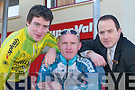 CYCLING RACE: Launching the Muntas Cycling Race in Garveys Castleisland on Saturday.were L/R: oin Concannon (Killorglin Credit Union Team), Eugene Moriarty (myhome.ie.Team), E and Seamus Kerrisk (Garveys.Castleisland).