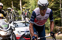 Richie Porte (AUS/Trek-Segafredo) putting in a solid effort on the steep parts of the individual time trial up the infamous Planche des Belles Filles that'll put him onto the Tour podium (in 3rd place).<br /> <br /> Stage 20 (ITT) from Lure to La Planche des Belles Filles (36.2km)<br /> <br /> 107th Tour de France 2020 (2.UWT)<br /> (the 'postponed edition' held in september)<br /> <br /> ©kramon