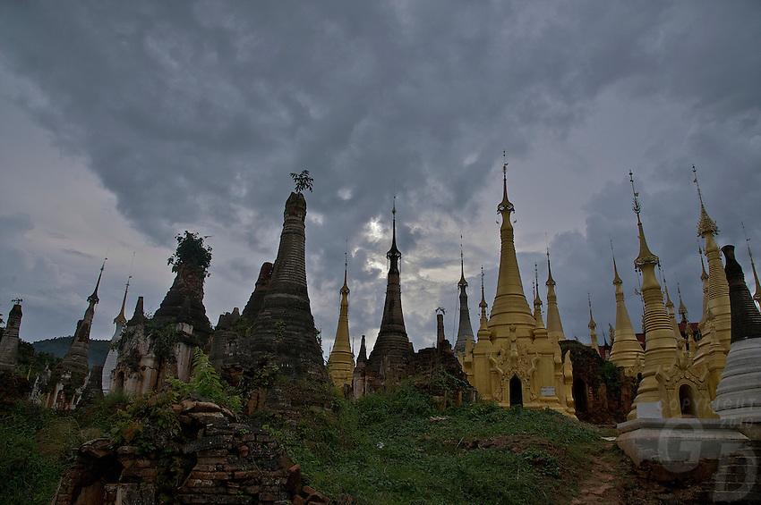 Shwe Inn Den Pagoda with over 1000 pagodas, Inle lake, Myanmar