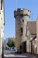 Runder Turm ( 1460) in  Großwallstadt am Main, Bayern, Deutschland