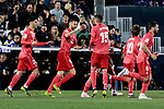 Real Madrid's players celebrate goal during La Liga match between CD Leganes and Real Madrid at Butarque Stadium in Leganes, Spain. April 15, 2019. (ALTERPHOTOS/A. Perez Meca)